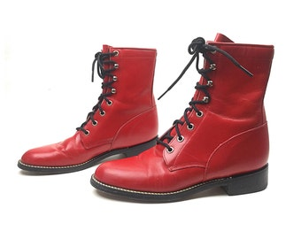 Red boots, red combat boots, size 65 boots, vintage boots, women's boots, women's boots, red leather boots, vintage boots