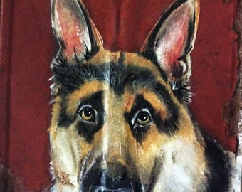 German Shepherd Oil Painting on One Hundred Years Old Tin Shingle