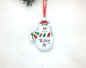 Snowman with Green and Red Scarf Personalized Christmas Ornament / Toddler / Child / Hand Personalized
