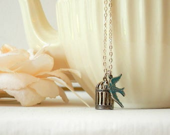 Sparrow Necklace, Bird Cage Necklace, Bird Jewelry, Long Necklace