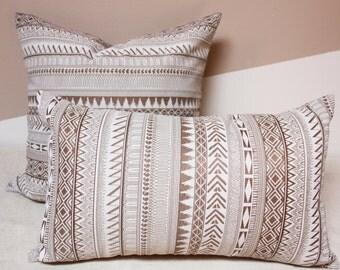 brown outdoor pillow, Outdoor ethnic pillows, Knoll fabrics, Holbrook rattan textured ethnic stripe tan pillow