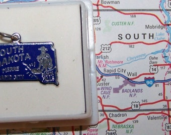 Vintage Beau SOUTH DAKOTA  Sterling  and Enamel State Charm --Pierre, Rapid City and Sioux Falls