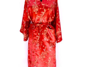 60's vintage red satin silk chinese dragon floral printed embroidered oriental traditional asian eastern full length robe kimono LARGE