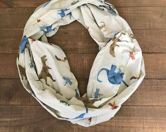 Dinosaurs Infinity Scarf, Dinosaurs,  Infinity Scarf, Adult Loop Scarf, Upcycled Sheets