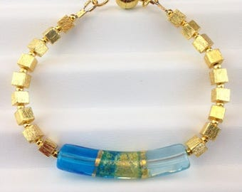 Venetian Glass Bracelet - Gold Bracelet - Magnetic clasp - Venetian Jewelry - Gold Jewelry - Beaded Bracelet - Jewelry Gift - Curvy Venice