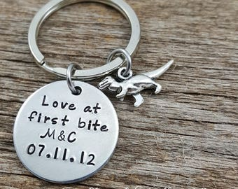 Valentine's day gift for him - T Rex Keychain • Couple Customized Keychain • Girlfriend Boyfriend • Anniversary Gift • Love at first bite