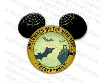 Halloween on the High Seas Personalized Disney Cruise Door Magnet (3 sizes)
