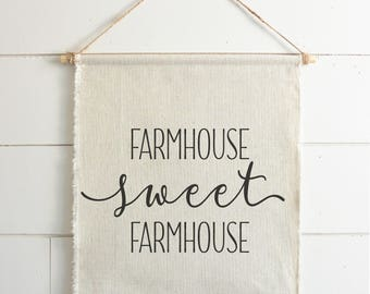 Farmhouse Sweet Farmhouse Hanging Wall Banner // Everyday // Wall Art // Gift  // Pennant // Wall Decor