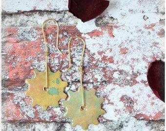 Paint Splattered Cogs Earrings Set 3, OOAK Handmade Wire Wrapping Double Sided Cog Pendant Earrings Unique Steampunk Style Jewelry