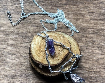 The Witch Project - natural witch -amethyst - long necklace - tree necklace