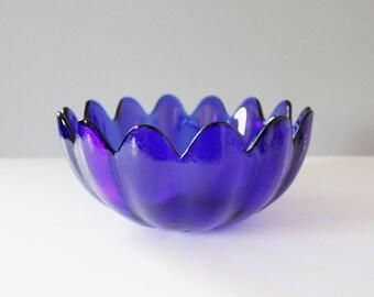 Large Blenko Glass Petal Bowl Cobalt Blue Floriform Wayne Husted Serving Bowl