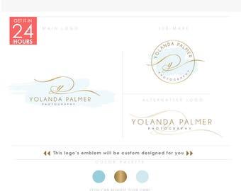 Swirly letter- Feminine Logo, Watercolor Design ,Branding Package,Photography logo ,GOLD monogram logo, luxury emblem logo, watercolor stain