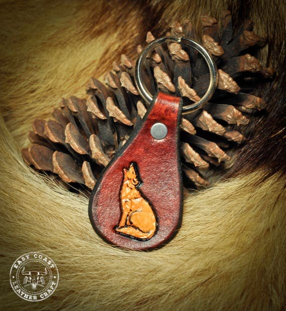 Leather Keychain Laynard fob - Wolf Coyote