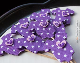 Onesie Baby Shower Cupcake Toppers - Purple Cupcake Toppers - Lavender Polka Dot Cupcake Topper - Purple Baby Shower - 12pc.
