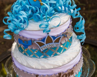 Diaper Cake Boy - Little Prince Cake - It's a Boy - Baby Shower - Diaper Cake - Baby Boy Shower - Baby Shower Centerpiece - Baby Cake