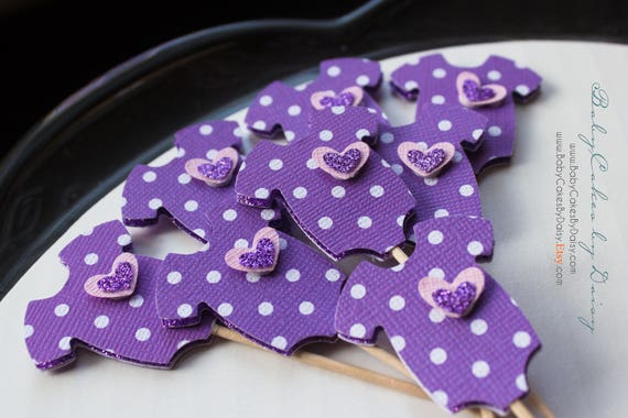 12 Baby Shower Cupcake Toppers - Purple 3 Dimensional Toppers - Lavender Polka Dot Cupcake Topper - Purple Onesie with Layered Heart