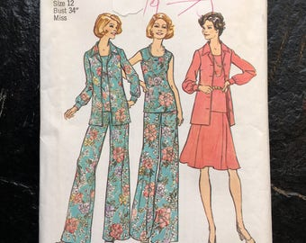 Vintage 1970s Blouse, Top, Skirt and Wide-Leg Pants Pattern // Simplicity 6854 > Size 12 > Unused > bell bottom, top stitched