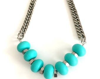 Turquoise chunky silver necklace, big silicone bedas, edgy silver chain necklace, turquoise silver statement necklace, nulika