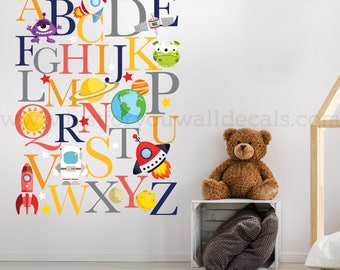 Alphabet Wall Decal, Outer Space Wall Decal, Playroom Wall Decal, Nursery Wall Decal, Alphabet Decal, Alphabet Nursery Art, Alphabet 01-0042