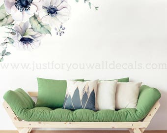 Flower Wall Decal, Floral Wall Decal, Watercolor Wall Decals, Flower Wall  Stickers,