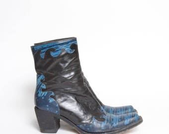Vintage Black and Blue Chunky Heel Boots Zipper Boots