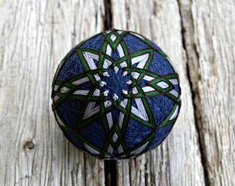 Grey and Navy Temari Ball, Tranquil Lake Temari Ball, Japanese Folk Art, Pine Forest Temari Ball Ornament, Christmas Temari Ball Ornament