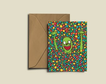 Zombie Ball Pit Birthday Congratulations Valentines Exam A6 greeting Card.