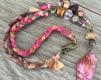Blushing Shell and Sari Ribbon Necklace