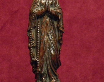 Antique French detailed Madonna, our holy Virgin Mary of Lourdes on a wooden pedestal