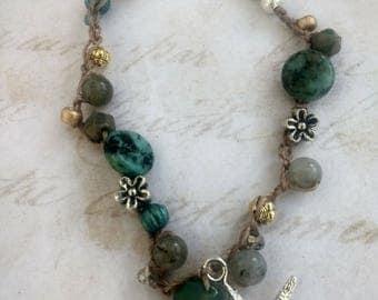 Beautiful silver starfish crochet bracelet