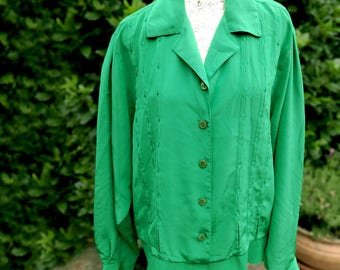 Plus size vintage satin blouse . Green blouse . Size XL . 70s 80s Blouson style with wide tuck in waistband . Light material . UK Size 16 18