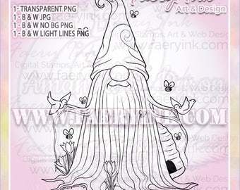 Birds Bees Tomte Gnome Spring UNCOLORED Digital Stamp Image Adult Coloring Page jpeg png jpg Fantasy Craft Cardmaking Papercrafting DIY