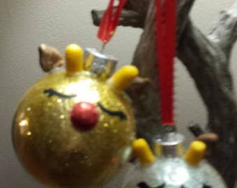 SALE Rudolph Reindeer  Christmas Ornament