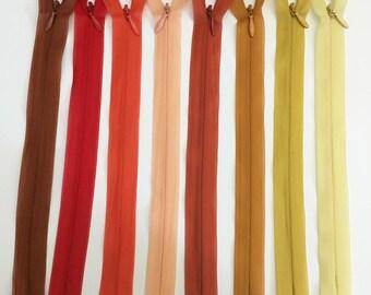 Set of 8 20 assorted colors - set 3 cm invisible zipper closures
