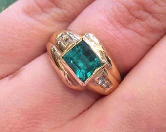 18K Yellow Gold Emerald Cut Emerald & Diamond Ring