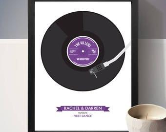 Personalised Vinyl Record Poster, Wedding Gift, Birthday Gift, Present, Gift