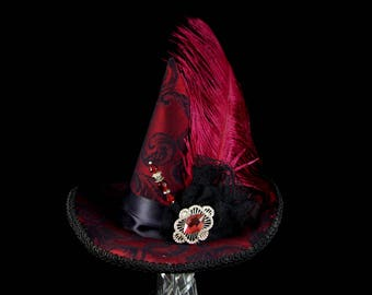 Burgundy and Black Victorian Steampunk and Ostrich Plume Mini Witch Hat, Halloween, Festival Hat, Derby Hat