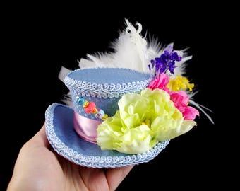 Blue, Pink, and Green Flower Garden Mini Victorian Riding Hat Fascinator, Marie Antoinette, Alice in Wonderland, Derby Hat
