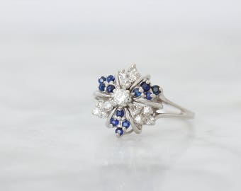 Unique Diamond Engagement Ring | 1960s Blue Sapphire Ring | Vintage Diamond Cluster Ring | 14k White Gold Cocktail Ring | Size 7.25