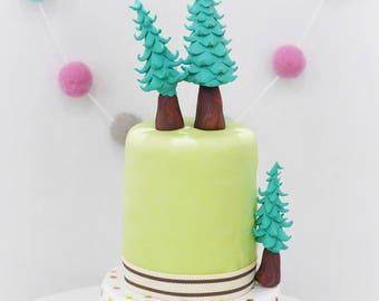 Tree Cake Toppers, Set of Three Woodland Tree Cake Toppers, Forrest Trees, Polymer Fir Trees, Tree Cake Decorations, Pine Trees