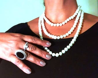 Very long pearls necklace, White pearl chain, long big , Elegant necklace, Present for special , Gift for her, Prestigious jewlery, present