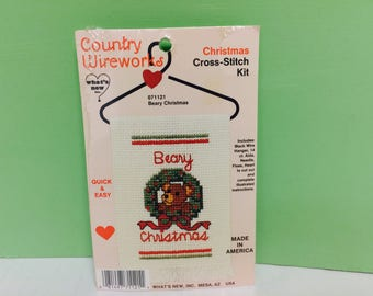 Counted Cross Stitch, Christmas Kit, Beary Christmas, Teddy Bear, Ornament Kit, Country Wireworks Kit, Cross Stitch Supplies, Holiday Decor