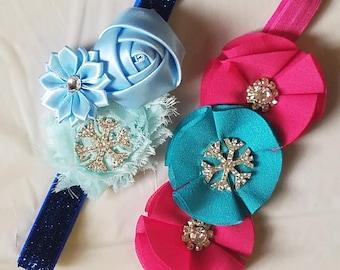 Princess Frozen Snowflake Headband Chiffon Shabby Chic Flower Bow Hairband On Fold Over Elastic Baby Girls Accessory