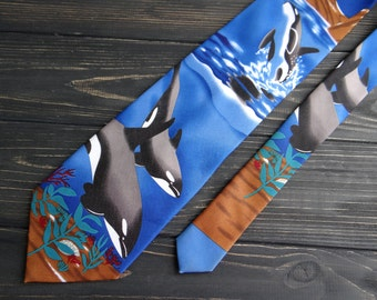 Navy blue dolphin tie vintage mens tie Cravate Nautical print Killer whale men necktie Endangered species whale gift for husband boyfriend