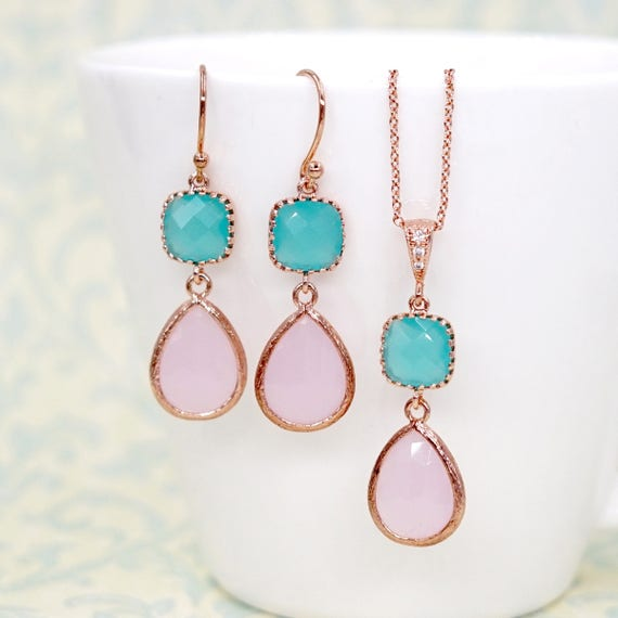 Pink teardrop Mint cushion Rose Gold Earrings| Brides Bridesmaid Blush Jewelry Wedding Something Blue | Gifts for her bff wife mom E297