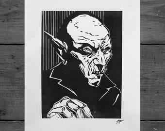 Nosferatu Horror Lino Print
