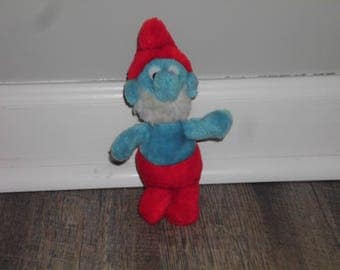 """Papa Smurf Soft Toy - Wallace and Berrie, 1980's, 7"""" tall, Childrens Plush"""