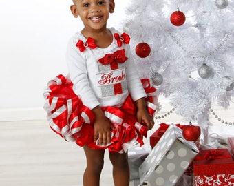 Christmas tutu outfit, holiday tutu set, Christmas holiday dress, Christmas gift outfit, ribbon trimmed tutu, red and silver tutu outfit