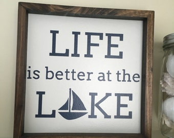 SECONDS SALE  Life Is Better At The Lake, lake decor, sailboat, framed sign, lake cabin, gift