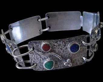 Dazzling 1980s STUDIO Handcrafted .950 Silver Multiple Gemstone Cabochon Textured Five Panel Abstract MODERNIST BRACELET